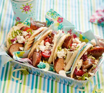Pittige pitabroodjes met barbecueworst - Recept - Jumbo Supermarkten