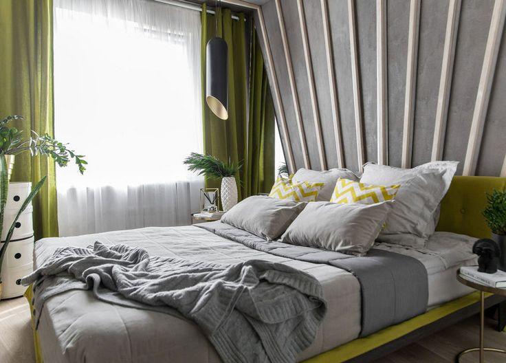 45m2-es panellakás remek berendezése - kétszobás legénylakás modern világos dekorációja hangsúlyos zöldekkel
