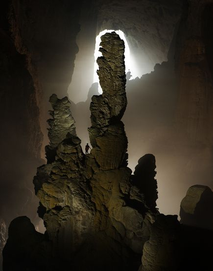 "Hand of Dog stalagmite in Hang Son Doong Cave,The ""Mountain River Cave"", in a remote part of Vietnam's Annamite Mountains"