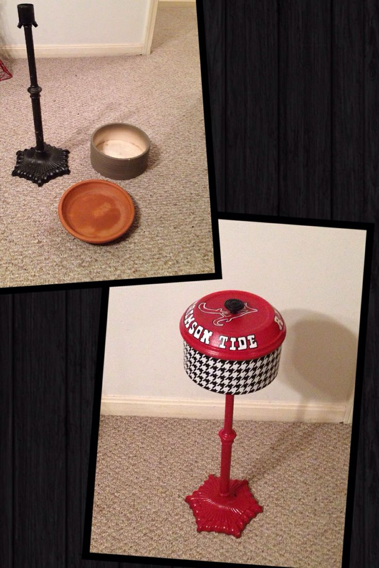 Diy outdoor ashtray from thrift store finds.