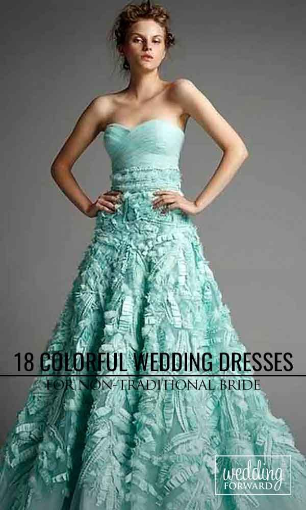 30 colorful wedding dresses for non traditional bride for Non wedding dresses for brides