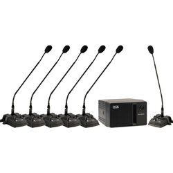 Anchor Audio CM-6-CONF CouncilMAN Conference System - 6 User Package. One CHM-100 Chairman Mic. Five DEL-100 Delegate Mics. One AN-100CM Speaker Amplifier. Five (5) EX-4M 4 ft. XLR cables - One (1) EX-25M 25 ft. XLR cable. Sturdy cardboard carrying case.