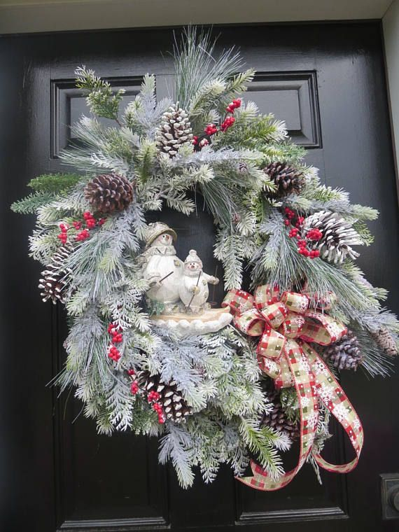 Snowman Wreath Winter Wreath White Winter Wreath Pine cone