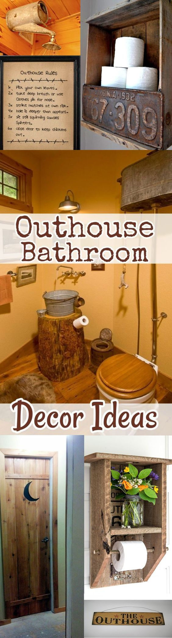Country outhouse bathroom decor