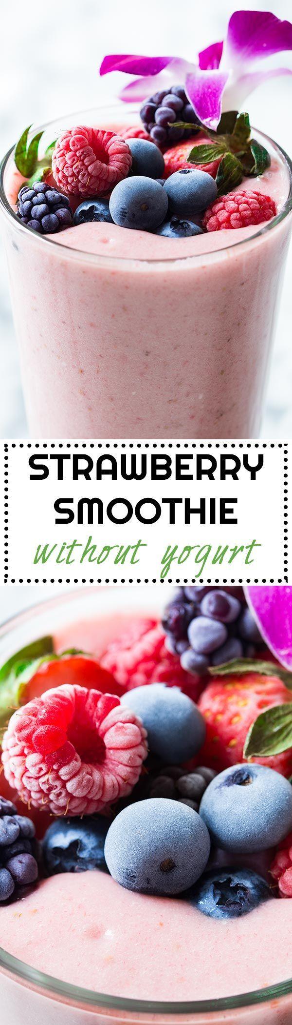 Strawberry Smoothie Without Yogurt via @greenhealthycoo