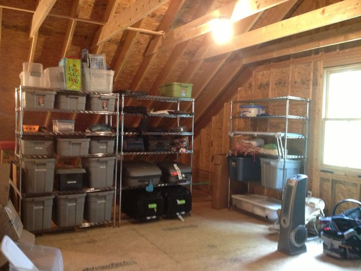 78 best images about garage attic organizing ideas on for Garage attic storage