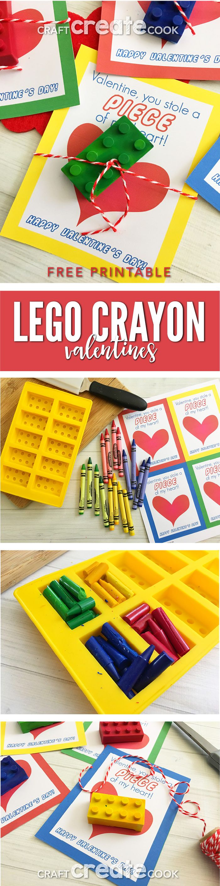 Your little Lego fans will love these DIY Lego Crayons - Free Printable Lego Valentine Cards. via @CraftCreatCook1