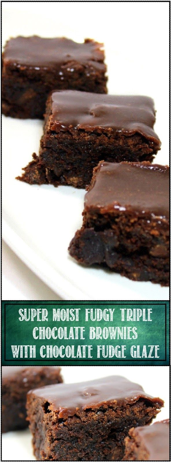 "SUPER MOIST Fudgy TRIPLE Chocolate Brownies with Chocolate Fudge Glaze - Church PotLuck Dessert... Like the title says, THREE Types of chocolate, Chocolate chips are loaded into a moist Fudgy cake brownie and then the whole thing gets covered in a fudge chocolate glaze. This indulgent dessert is sure to be praise worthy for any gathering of family and friends... A GOTO ""got to take something"" DISH!"