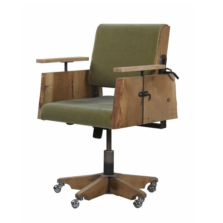 tree trunk desk chair in green velour designed by piet hein eek the wood is