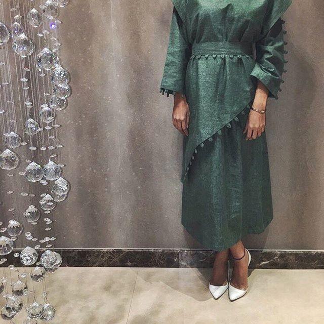 Pinterest: @eighthhorcruxx. Green Abaya, white heels