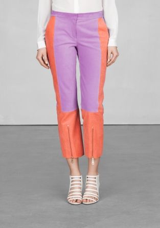 I love the detailing on these soft leather cropped trousers. My color combo wouldn't be purple/coral though.