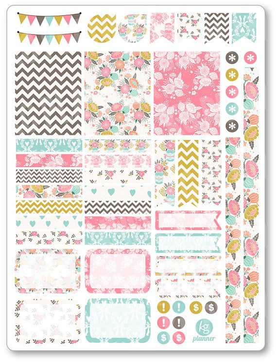 Shabby Chic Decorating Kit / Weekly Spread Planner Stickers for Erin Condren Planner, Filofax, Plum Paper