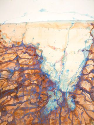 © John Olsen ~ Lake Eyre - Jackboot Bay ~ 2011 mixed media on French cotton paper at Tim Olsen Gallery Sydney Australia