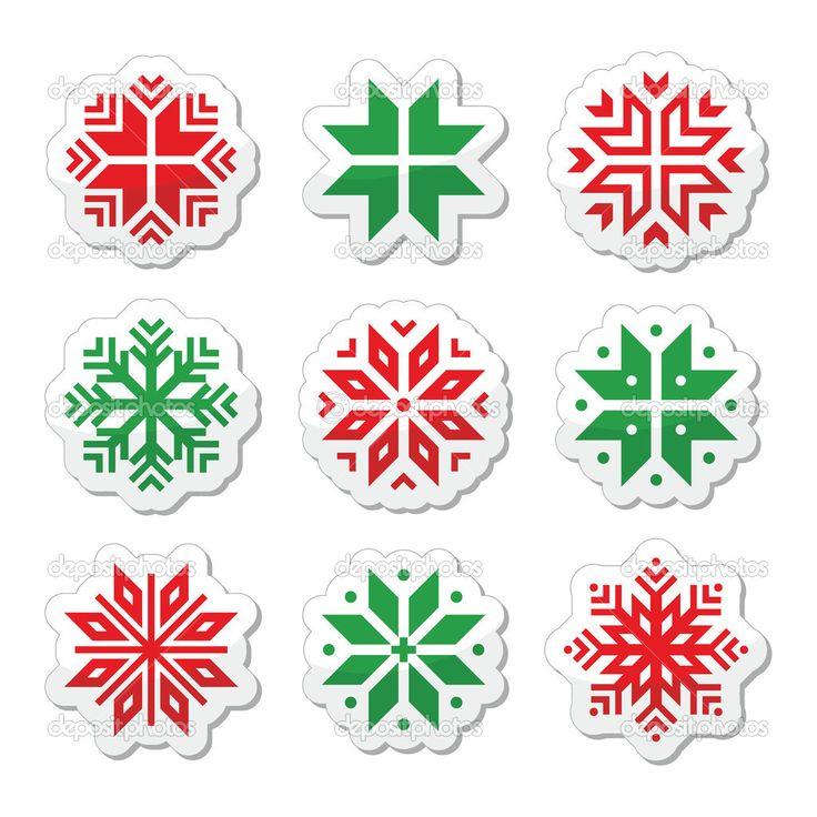 Boże Narodzenie, zima płatki śniegu wektor zestaw ikon - Ilustracja stockowa: 36180407