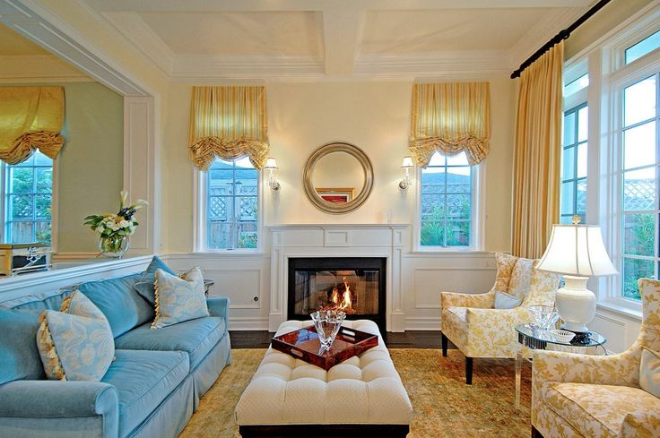 yellow and aqua blue living room traditional with upholstered chairs traditional sofas