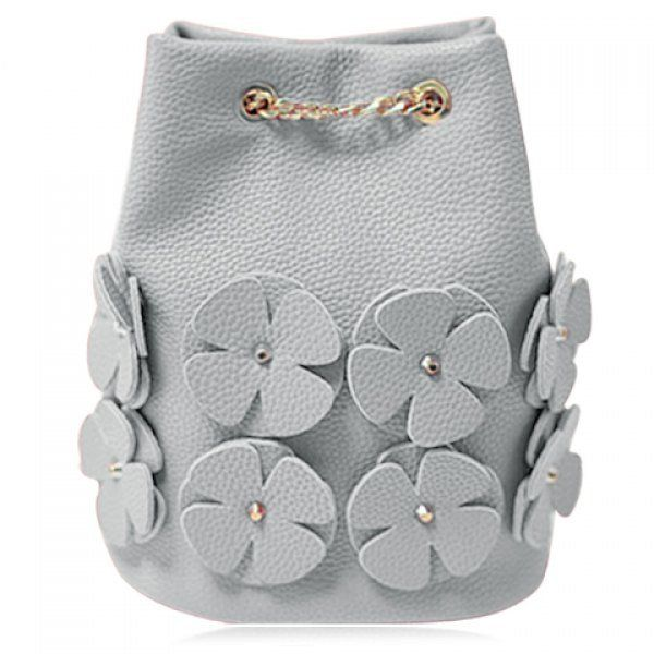Trendy Solid Colour and Appliques Design Shoulder Bag For Women