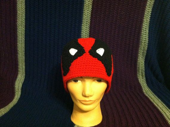 Black and Red Deadpool Beanie Hood Hero hat cap by JustinesCCC, $25.00