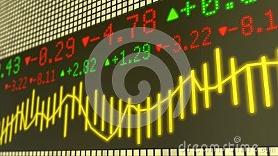 Stock market ticker background in yellow with various numbers and graphs