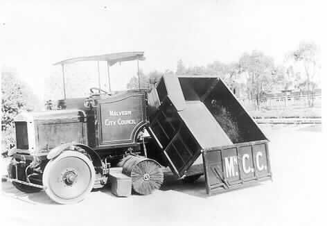 MP 7319. Malvern City Council street-sweeper and rubbish collection vehicle; c.1930.
