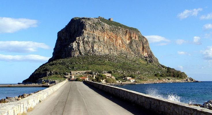 This is Monemvasia | Μονεμβασιά, South Peloponnese. Hidden behind the rock you find the town..