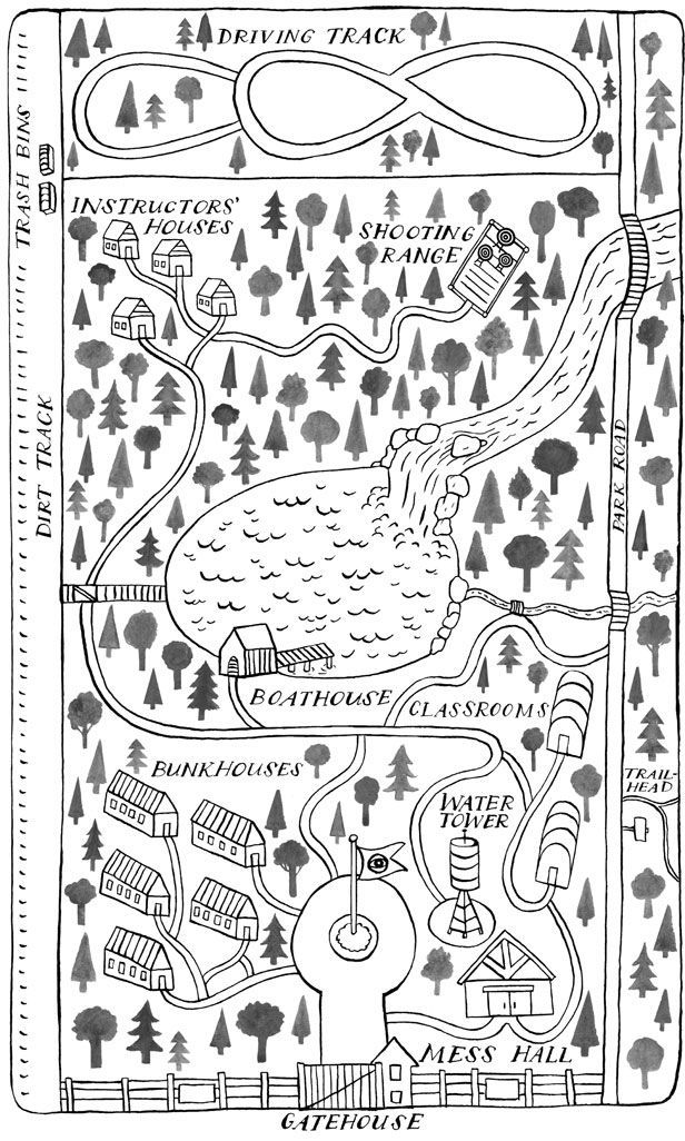 Inspiration for a landscape-neighborhood map. - - - Hand illustrated camp map.