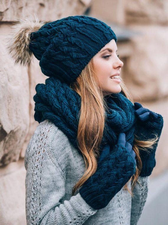 Winter Hat Scarf And Gloves Set Pom Pom Beanie Infinity Scarf Etsy Scarf Casual Hat Scarf Gloves Set Winter Hat And Scarf