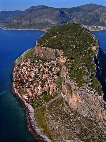 Monemvasia is a rock-island fortress connected to the mainland by a narrow causeway. Concealed on the rock is a medieval village so intact that, despite its modern bars, art galleries, restaurants and boutique hotels, it gives a good idea of what life must have been like in Byzantine Greece.