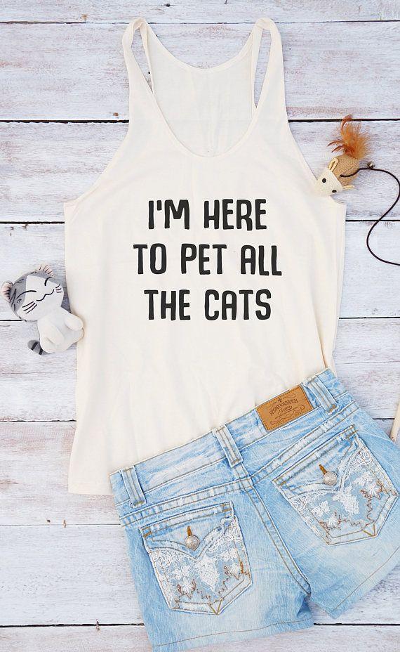 Ik ben hier om te al de katten tshirt vrouwen grappig t-shirt vrouwen grafische tshirt zomer overhemd mode vrouwen geschenken tienermeisje kleren van het huisdier