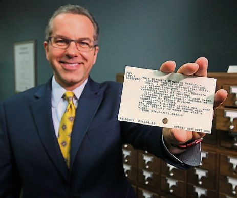 """Dublin's OCLC prints last library catalog card"" ... ""Shortly before 3 p.m. Thursday, [October 1, 2015] an era ended."" Shown: ""OCLC President and CEO Skip Prichard shows a library catalog card printed at the Dublin headquarters."" Photo: Doral Chenoweth III -- SH: Pardon me while I pause a moment and sniffle a bit..."