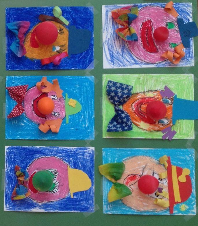 * Clown: Tekenen-kleuren-knippen-plakken en als laatste een ballon als neus!