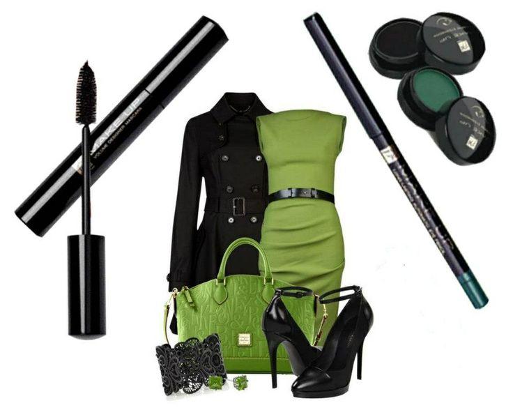- m003 Volume designer mascara - kr06 Matita automatica per gli occhi Malachite green - Ombretti cashmere : kr06 Ebony black, c021 Moss green