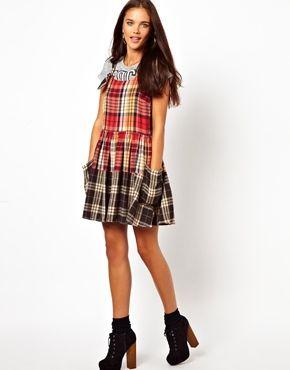 Image 4 ofRiver Island Check Skater Pinny Dress