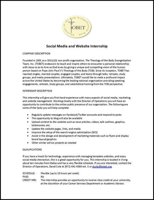 @UofDallas Social Media U0026 Website Internship W/TOBET!