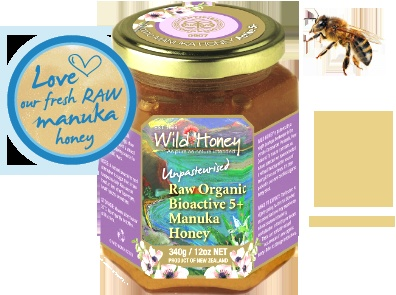 Wild Honey Bioactive  5+ Raw Manuka Honey 340g - Buy on Line in UK or from most Independent Organic Stores throughout UK and Ireland  http://www.ethicallyessential.coop/