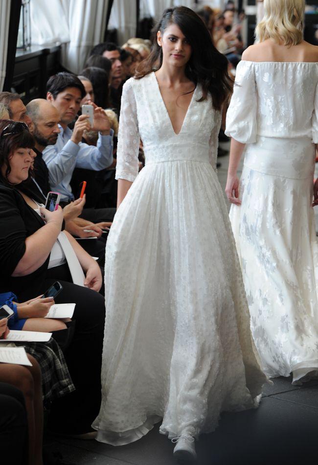 Romantic 3/4 Sleeve Wedding Dress | Delphine Manivet Fall/Winter 2015 | blog.theknot.com
