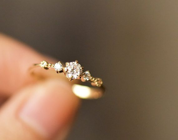 14k Solid Yellow Gold Engagement Ring Simple Engagement – Jiaxin Duan