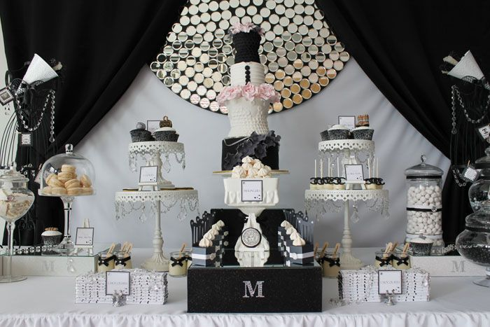 Fashion-inspired dessert table: Dessert Tables, Baby Shower Ideas, Birthday Parties, Sweet Tables, 21St Birthday, Black And White, Black White, White Desserts Tables, Parties Ideas