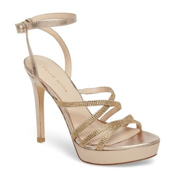 Women's Pelle Moda Oak Platform Sandal ($180) ❤ liked on Polyvore featuring shoes, sandals, platinum gold metallic suede, strappy shoes, strappy sandals, party sandals, sparkly sandals and stiletto sandals