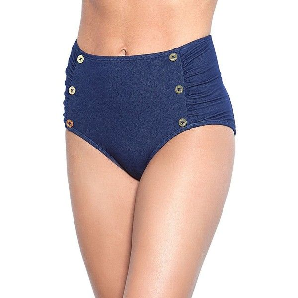 Betsey Johnson Carousel High Waist Bottom Swimwear ($56) ❤ liked on Polyvore featuring swimwear, bikinis, bikini bottoms, denim, high waisted swimwear, ruched high waisted bikini bottom, scrunch bikini bottoms, blue bikini and sailor bikini