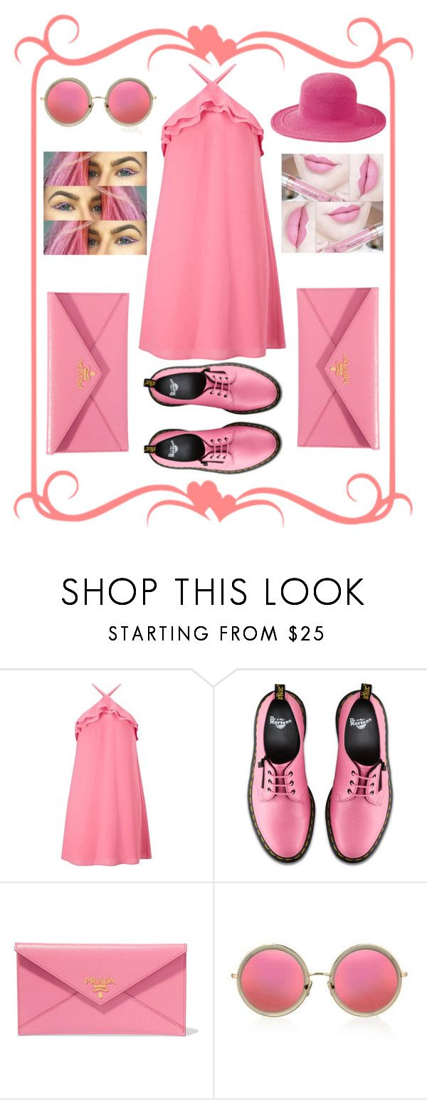 """Pink girl!!"" by karolina-meilyte ❤ liked on Polyvore featuring beauty, Miss Selfridge, Dr. Martens, Prada, Topshop, San Diego Hat Co. and Anastasia Beverly Hills"