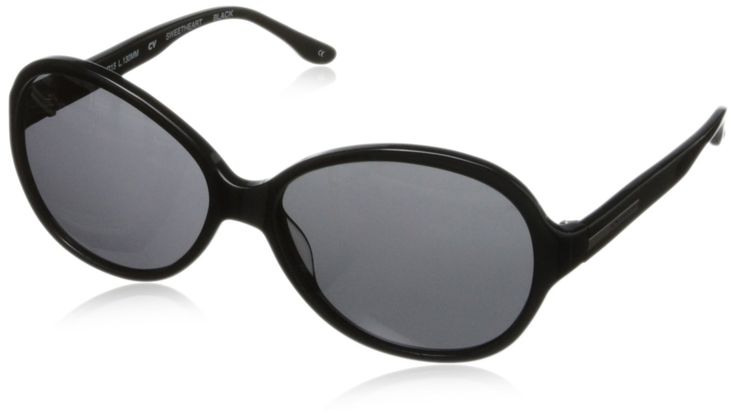 BCBG Women's Sweetheart Round Sunglasses,Black,60 mm. Round sunglasses with prescription-ready lenses and logo plaque at temples. Case included.