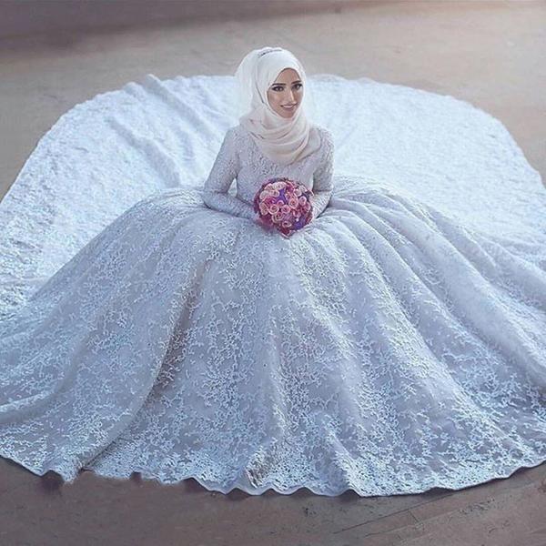 Arabic High Collar Beaded Lace Long Sleeve Ball Gown Muslim Wedding Dresses