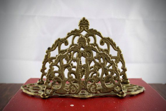 Vintage Brass Letter Holder  Ornate Rococo Style by LoAndCoVintage