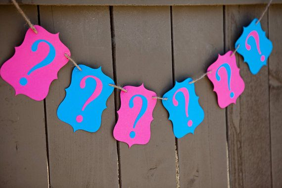 GENDER REVEAL Question Mark ?????? banner with for Gender Reveal Party, Team Boy, Team Girl, Maternity Photoshoot Prop | Pink or Blue – Etsy