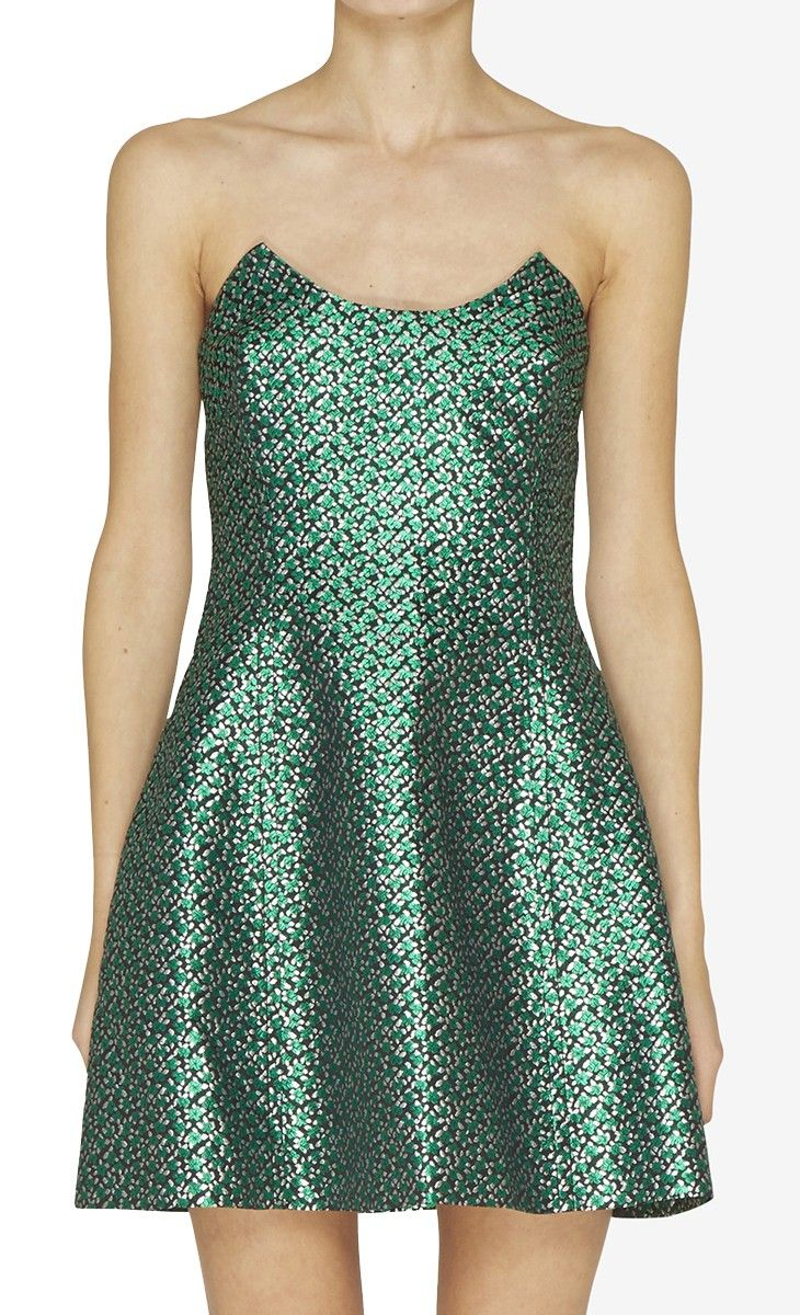 Miu Miu Green and Silver metallic dress