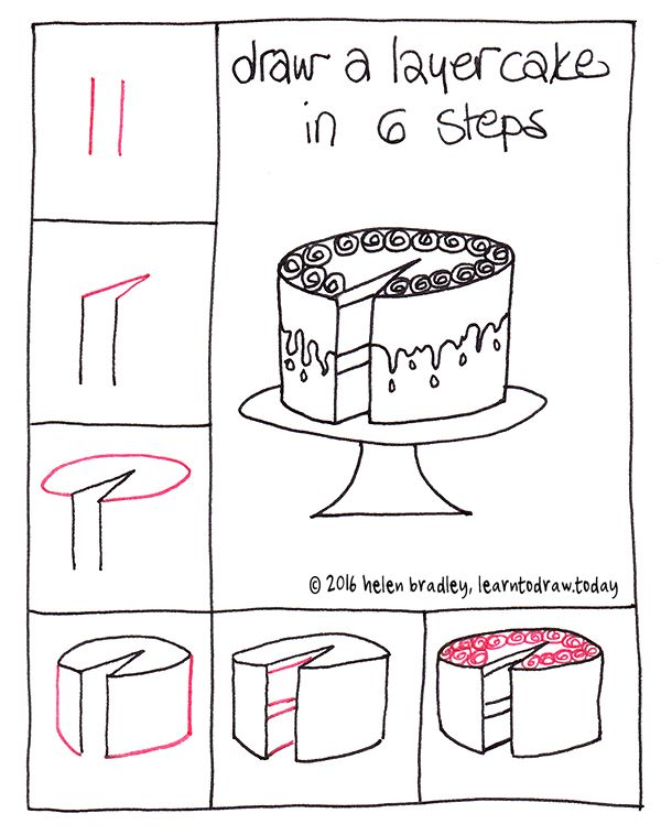 Learn to Draw a Cake in 6 Steps… : Learn To Draw http://giovannibenavides.com/Pinterest Board Commander