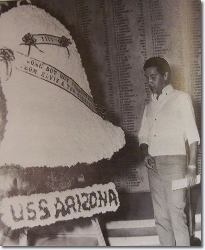 While Elvis was on location in Hawaii filming Paradise Hawaiian Style Elvis - Visiting The U.S.S. Arizona Memorial, August 15, 1965 Elvis did not want reporters around because he did not want it to look like some sort of publicity stunt.