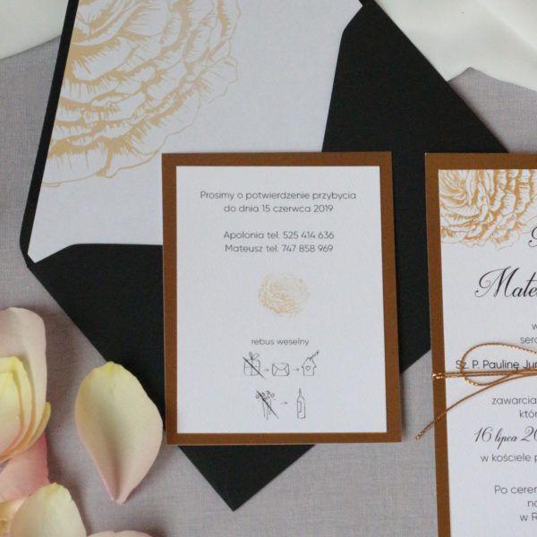 Złote Zaproszenia ślubne W Stylu Glamour Zaproszenia ślubne Navi W