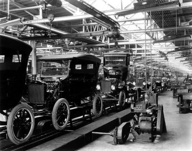 In a world defined by economic efficiency, the coming of the production line in 1913 had...