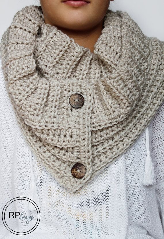 """New Scarf Crochet Pattern ~The """"Andy"""" Button Winter Scarf Pattern // designed by Rescued Paw Designs"""